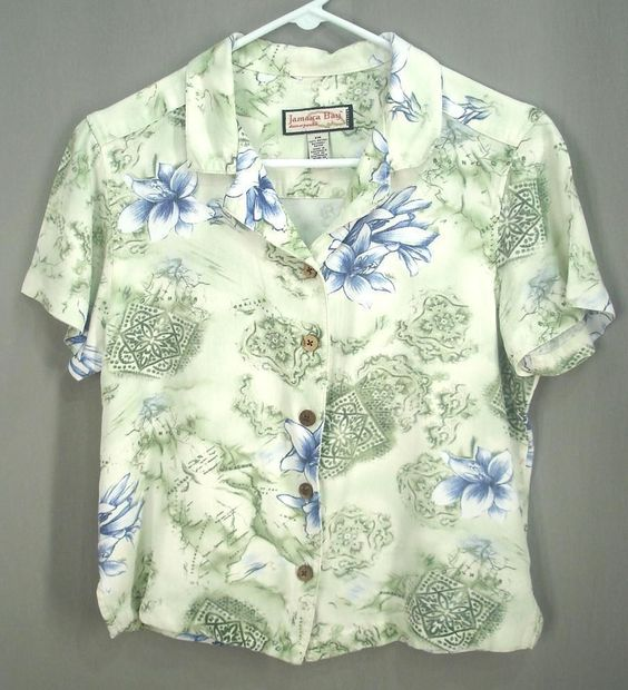 Jamaica Bay Womens Hawaiian Shirt Green Blue Tropical Print Size Petite Medium Free US Shipping JHFK