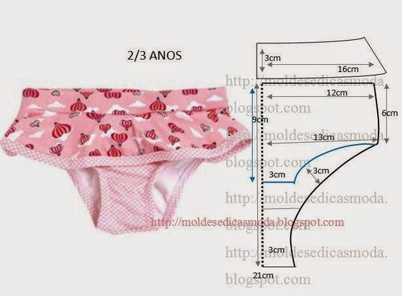 Moldes Moda por Medida: CUECA/CALCINHA DE CRIANÇA 2 A 3 ANOS: