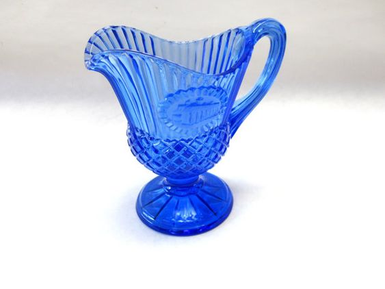 Colbalt Blue Glass Pitcher Syrup Creamer by sweetie2sweetie, $6.99