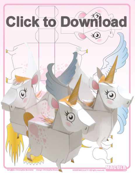 FREE UNICORN box A collection of free printable paper toys. Paper toys are fun to make and fun to play with. Great for kids and adults. Jump on this fun new trend.