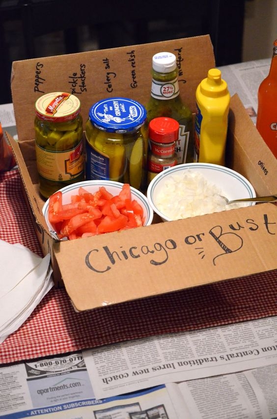 Make your own Chicago style hot dogs set for a going away party for friends moving to Chicago