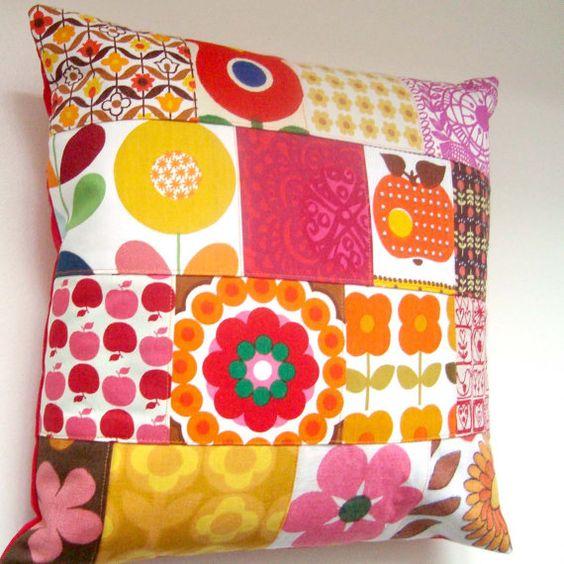 Vintage Retro Scandinavian Fabrics Patchwork  Pillow / Cushion Cover - Hot Pink Red Orange Yellow