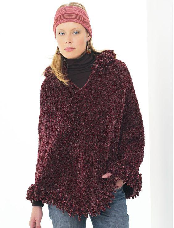 Knitting Poncho Patterns Free : Yarnspirations patons hooded poncho patterns