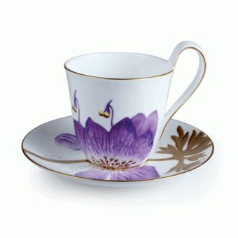 ♥ Lovely Japanese cup and saucer,  white with purple flower