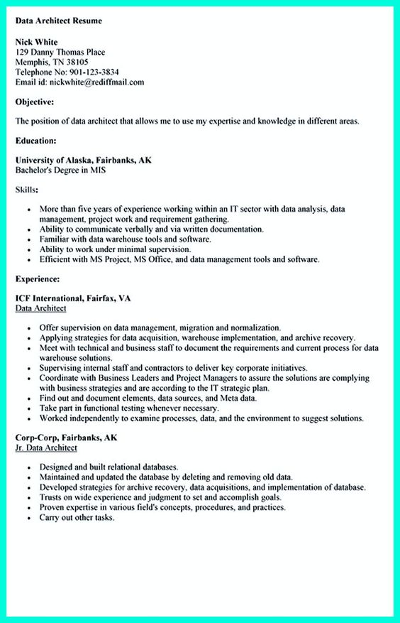 technical writing resume cover letter cover letter templates - Data Architect Resume