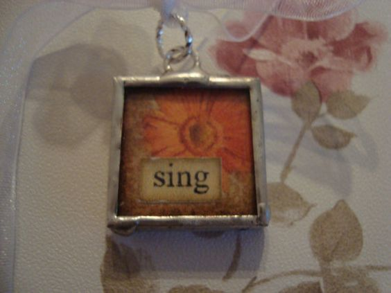 SING Flower  Soldered Glass Art Pendant by victoriacharlotte, $7.00