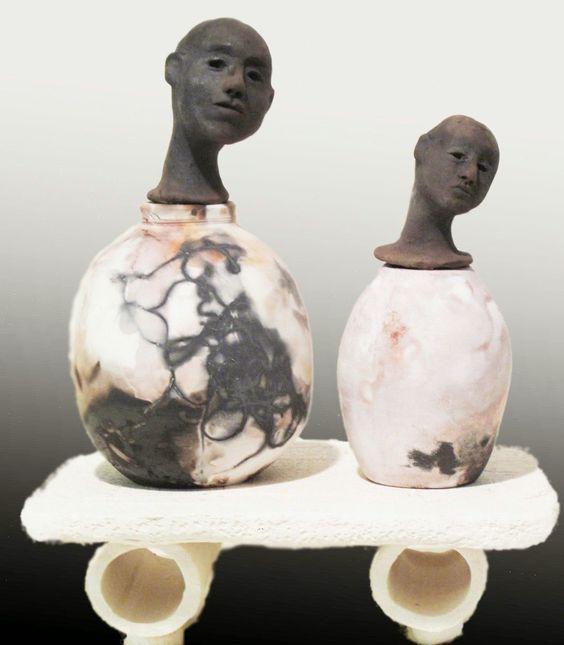 Black and white - ceramic - sculpture - figurative - Rosalind Shaffer