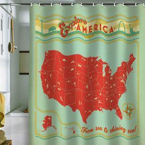 Explore America Shower Curtain
