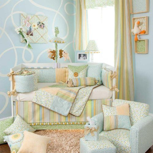 5 Piece Set with Green Swirl Pillow by Glenna Jean