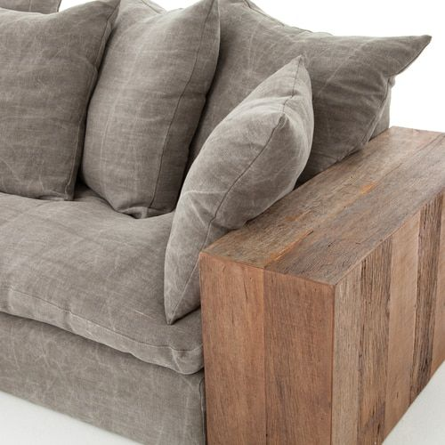 Dorset Industrial Loft Taupe Jute Sofa With Wood Arms Taupe Sofa