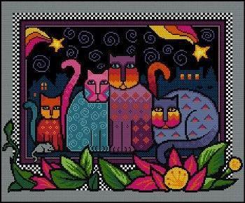 Вышивка ночные коты
