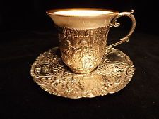 800 Sterling Silver German Demi tasse Cup And Saucer With Dresden Insert Hanau
