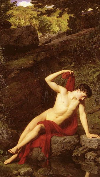 Narcissus by Adolf Joseph Grass (1867) - story from Ovid's Methamorphoses.: