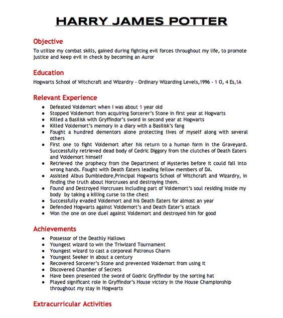 resume  harry potter and harry james potter on pinterest