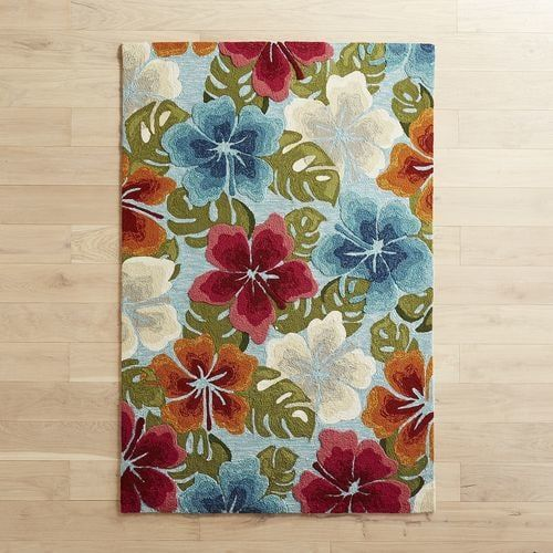 Hibiscus Floral 5x7 6 Rug With Images Floral Rug Cool Rugs Rugs