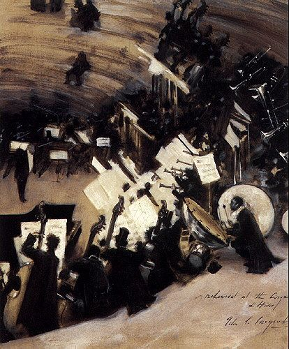 Rehearsal of the Pasdeloup Orchestra at the Cirque d'Hiver  John Singer Sargent -- American painter   about 1879–80  Museum of Fine Arts, Boston