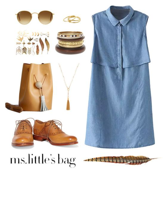 """""""The Littlest Bag"""" by a-hint-of-nutmeg ❤ liked on Polyvore featuring moda, WithChic, Grenson, Henri Bendel, Ray-Ban, Gorjana, women's clothing, women, female e woman"""