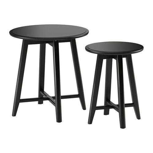 IKEA - KRAGSTA, Bijzettafel, set van 2, zwart, , Je kan heel eenvoudig een eenheid creëren door de KRAGSTA bijzettafels te completeren met de grotere salontafel uit dezelfde serie.