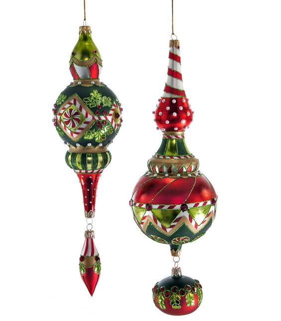 """Katherine's Collection Noel Christmas Collection Four Assorted 12"""" & 13"""" Noel Dangle Glass Ornaments Free Ship"""