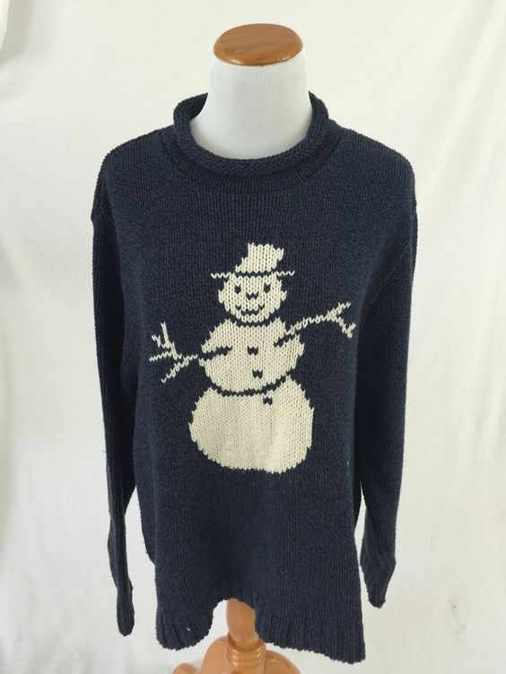 COTTON COUNTRY blue SNOWMAN UGLY XMAS SWEATER L #CottonCountry ...