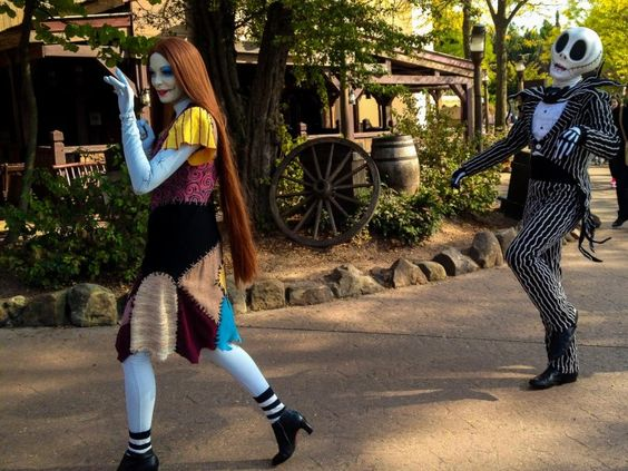 Jack Skellington and Sally from The Nightmare Before Christmas during Halloween at Disneyland Paris