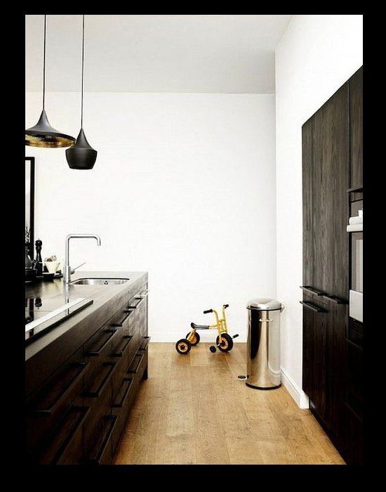 Contemporary Black Pendant Lighting in a Kitchen