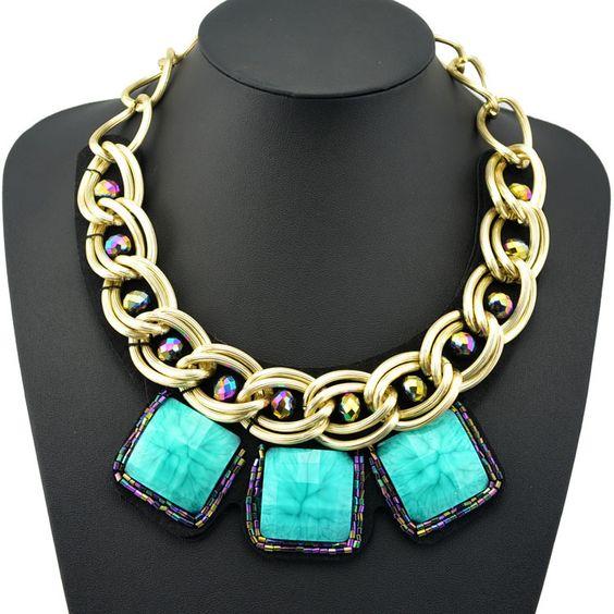 2014 venta caliente clásico collar declaración collar de la moda de gran mezcla de negro claro piedras de en de en Aliexpress.com