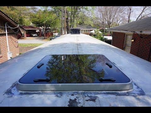 1 Skoolie Skylight How To Replace Your Emergency Hatch With A Boat Hatch Youtube House Redesign Skoolie Kitchen Redesign