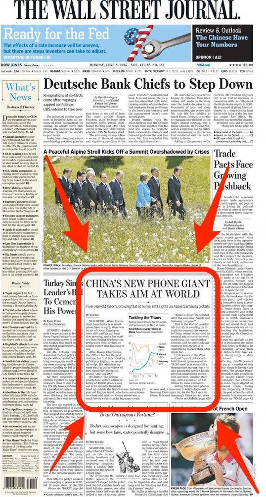 xiaomi wsj front page