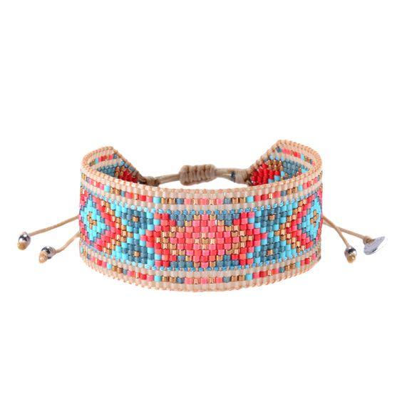 Bracelet Mishky en perles corail et turquoise tissées à la main en Colombie. Motif ethnique.