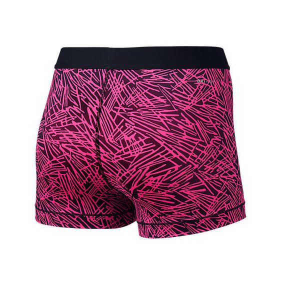 Nike Women's Pro Cool 3 Inch Printed Training Shorts ($21) ❤ liked on Polyvore featuring activewear, activewear shorts, pink, nike activewear, nike sportswear, training jersey, purple jersey and pink jersey