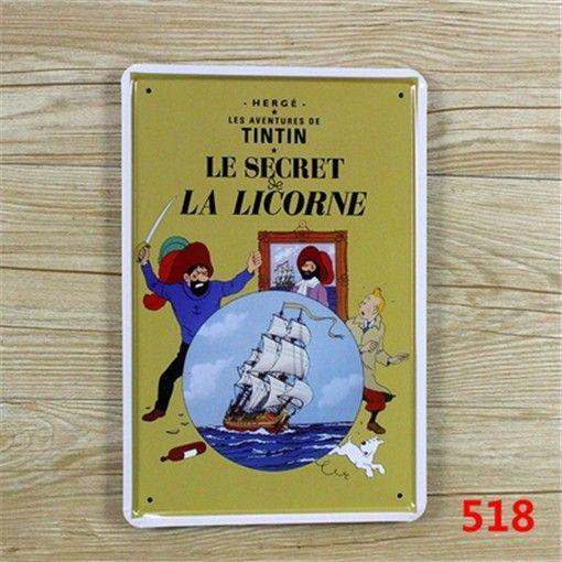 TINTIN LE SECRET LA LICORNE The Slogan Of Tin Sign, Home Decorative Metal Crafts Plaque Retro Signs   A438 $6.16