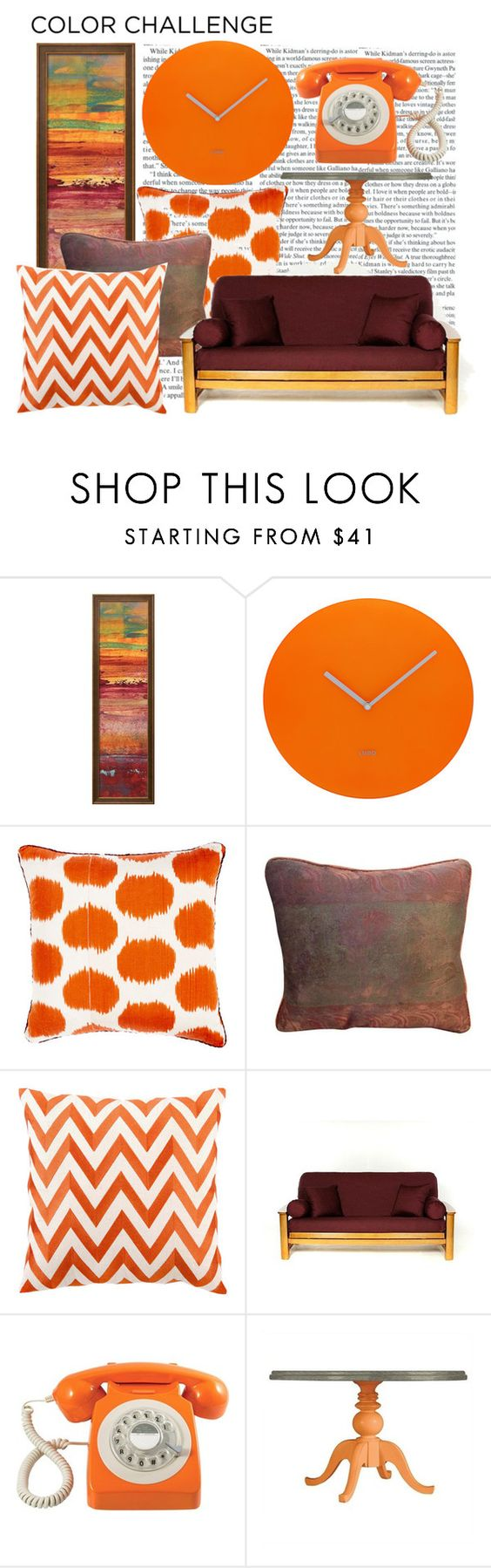 """""""Colour Challenge: Pumpkin and Burgandy"""" by chezqah-agnir on Polyvore featuring interior, interiors, interior design, home, home decor, interior decorating, Madeline Weinrib, Fortuny, D.L. Rhein and GPO"""