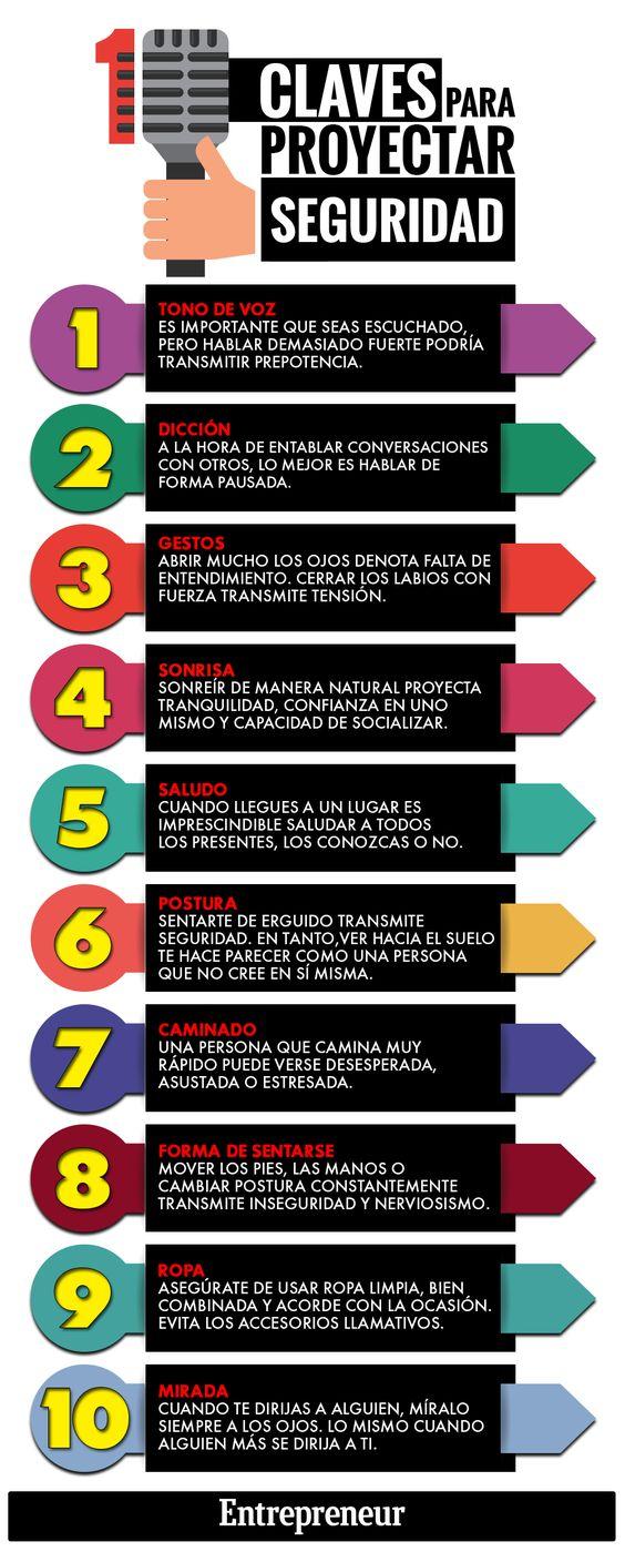 Hola: Una infografía con 10 formas de proyectar seguridad en ti mismo. Vía Un saludo