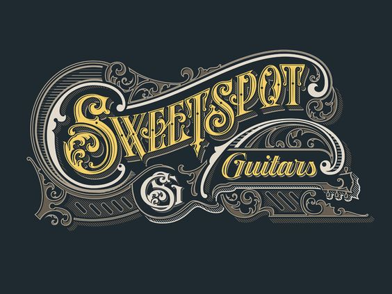 Hand Lettered Angled and Curved Text example