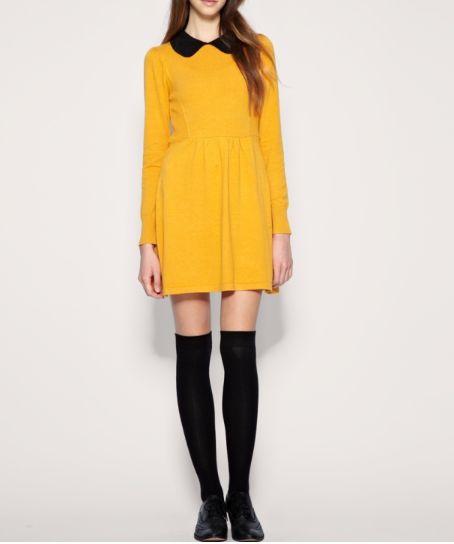 Women 039 s Vintage Slim Lapel Long Sleeve Empire Waist One Piece Dress 3 Size Z3047   eBay