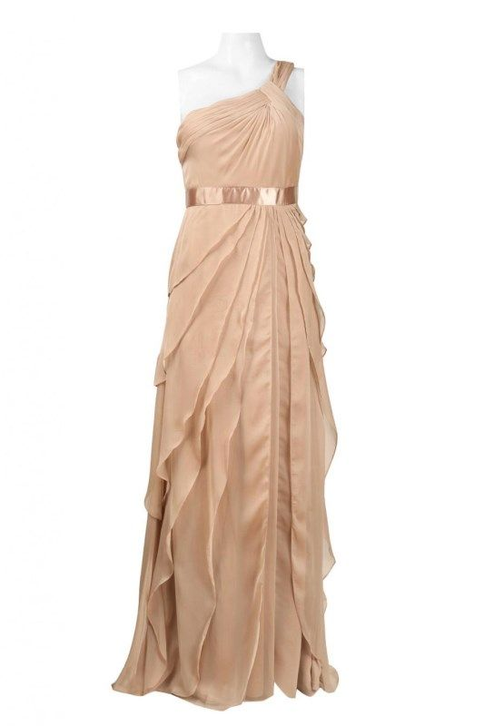 Adrianna Papell One Shoulder Ruched Chiffon Doe Dress  Adrianna ...