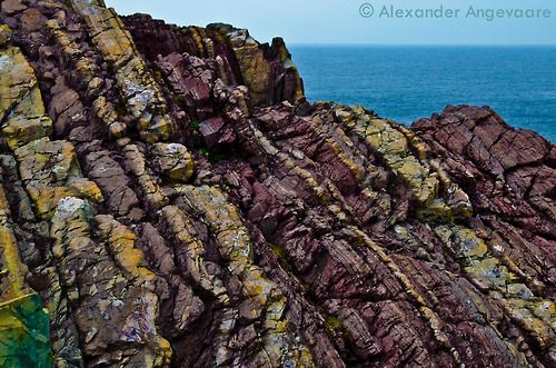 Some more geology of Newfoundland. The colours you can find with a little extra saturation is amazing.  ~ Ferryland, Newfoundland