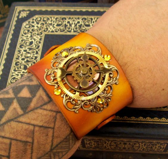 Steampunk Leather Bracelet C45  Time Travel by DesignsByFriston, $48.00