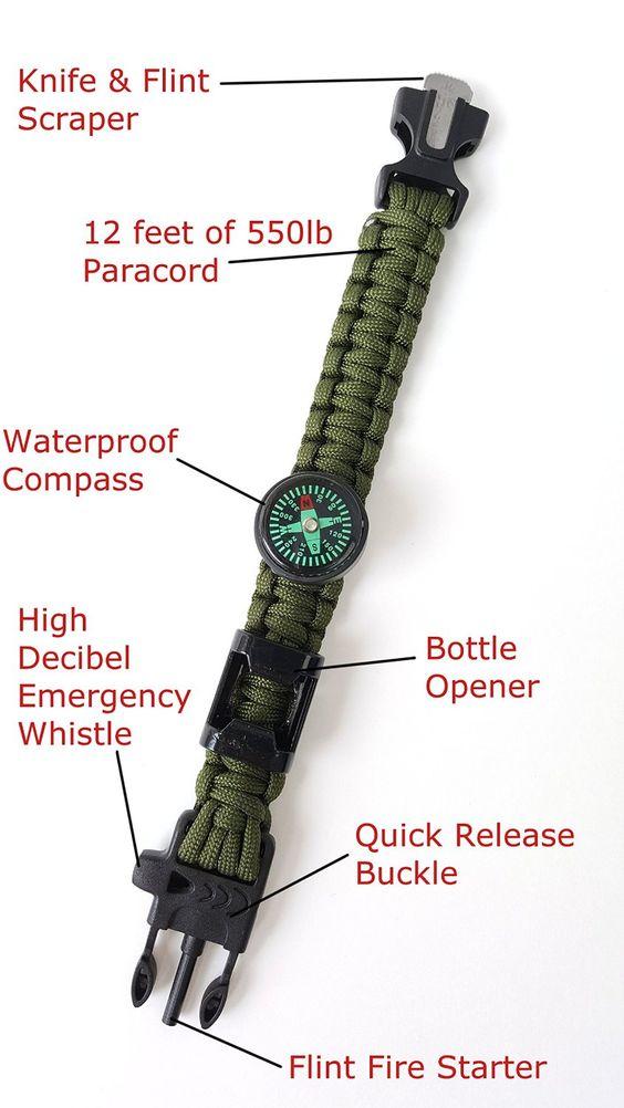Off-Grid Gear - Multifuntional Survival Paracord Bracelet with Updated Waterproof Compass, Knife/Scraper tool, Flint