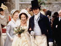 Jennifer Ehle and Colin Firth in Pride & Prejudice (1995). Jane Austen 19th Century Regency Georgian wedding inspiration.
