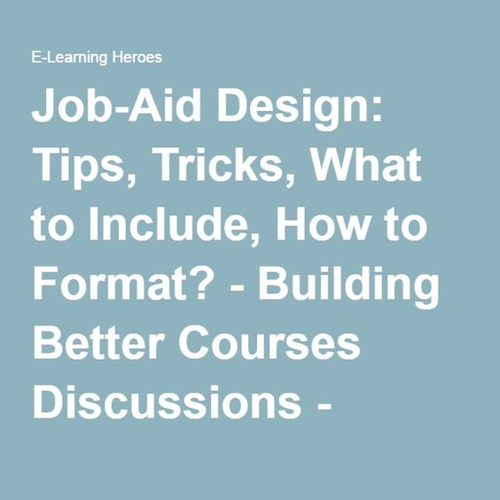 Job-Aid Design Tips, Tricks, What to Include, How to Format - humanitarian aid worker sample resume