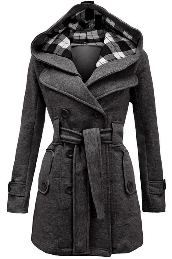 Grey Double-Breasted Belt Hooded Coat
