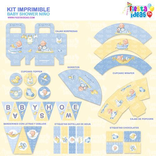 Kit imprimible de Baby Shower para niño – imprimelo gratis