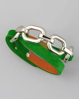 Ralph Lauren Suede Wrap Bracelet, Green
