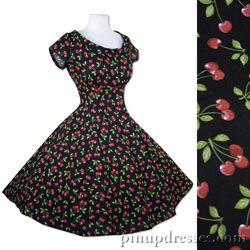 New Cherries Full Skirt Dress