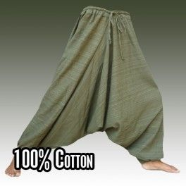 Mezcla de algodón holgados harén verde-