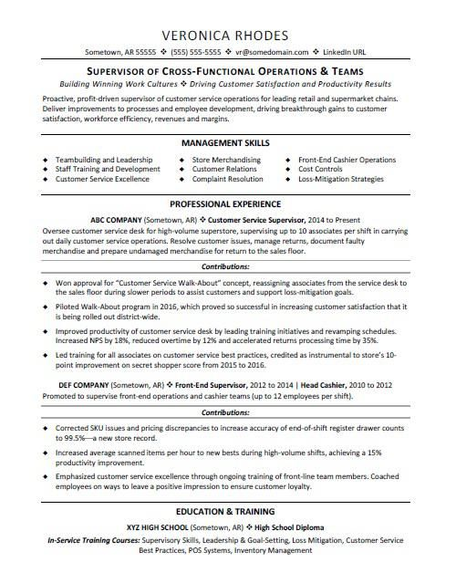 Supervisor Resume Sample With Images Resume Examples Job