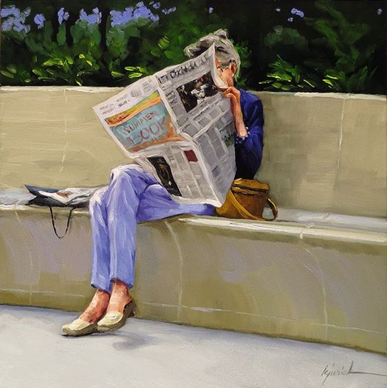 """Some Brighter News"" original fine art by Karin Jurick"
