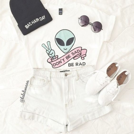 t-shirt colour alien grunge rad material pattern funky quote on it white slogan tee top denim high waist high waisted sunglasses indie clothes outfit aliens shoes trainers sneakers t-shirt sad shirt alternative: